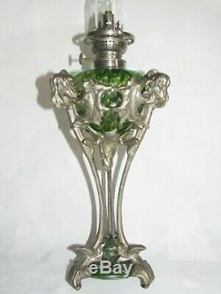 06F1 ANCIENNE LAMPE A PÉTROLE TRIPODE RÉGULE DÉCOR ART NOUVEAU AUX CHARDONS XIXe