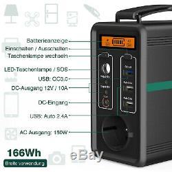 166Wh/ 52000mAh Générateur d'Énergie Solaire Portable Maison Chantier Camping FR