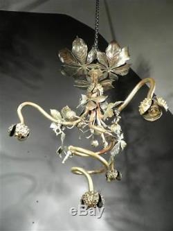 1900-10 France Lustre Marronniers En Bronze Doré Et Patiné Art Nouveau