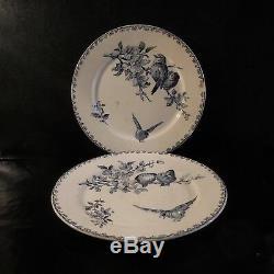 2 assiettes faïence FAVORI SARREGUEMINES DIGOIN XIXe Art Nouveau France N3326