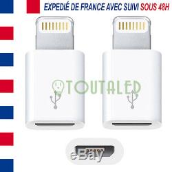 2x Adaptateur Micro Usb Vers 8 Pins Iphone 5 6 7 Ipad Ipod Envoi De France Suivi