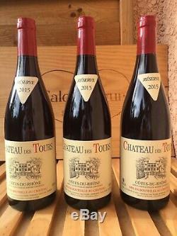 3 bouteilles du mythique Château Des Tours (rouge) Côte du Rhône 2015 (Rayas)