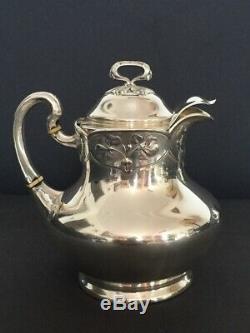 ART NOUVEAU Service à thé-café en argent massif Eugène Lefebvre 4 pièces