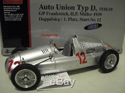 AUTO UNION TYP D 1938 # 12 GP FRANCE MÜLLER 1/18 CMC M089 voiture miniature RARE