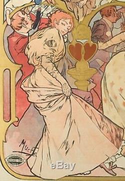 Affiche Originale Alphonse Mucha Les Amants Bernhardt Art Nouveau 1895