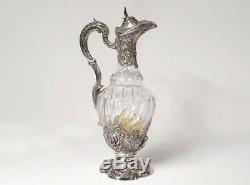 Aiguière argent massif cristal Minerve Labat & Pugibet Art Nouveau XIXè