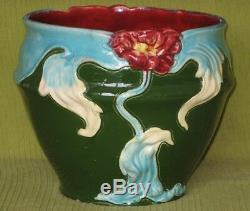 Ancien Grand Cache Pot céramique Art Nouveau majolique fleur pivoine Barbotine