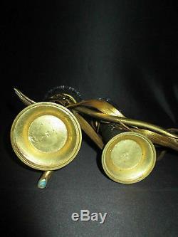 Ancien bougeoir soliflore bronze cristal taillé Nancy Art Nouveau fin XIX ème