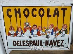 Ancienne Plaque publicitaire Émaillée chocolat delespaul havez Lille 59 EAS fr