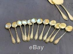 Argent Massif Vermeil Service A Glace 14 Pieces Poincon Minerve Art Nouveau