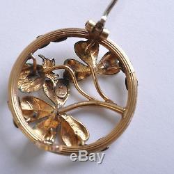 Art Nouveau Broche Jaune- et Grinder, Perles, France Bijoux Fix