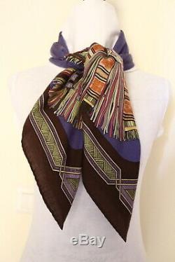 Authentic Hermes CASHMERE + silk scarf tuch châle carré foulard Cuirs du Desert