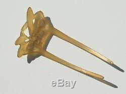 BEAU PEIGNE A CHEVEUX ANCIEN 1900 LIBELLULE / ART NOUVEAU en CORNE BLONDE