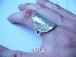 Bague pièce cintrée demi jonc 1 Franc Napoléon III en argent