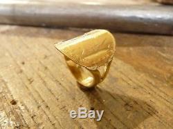 Bague pièce enfant demi jonc en or avec 5 Francs or Napoléon