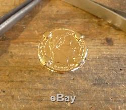 Bague pièce or 10 Francs Napoléon 4 griffes sur corps en forme de plume