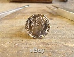 Bague pièce or 10 Francs Napoléon 6 griffes sur panier en forme de corbeille