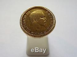 Bague pièce or 10 Francs Napoléon sur panier repercé droit