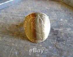 Bague pièce or 10 Francs Napoléon tête laurée sur fourche large