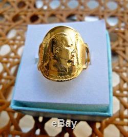 Bague pièce or cintrée 10 francs Napoleon III tete nue poinçon aigle T55