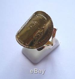 Bague pièce or cintrée fourche large 20 Francs Napoléon tête non laurée