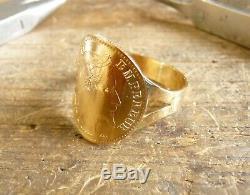 Bague pièce or cintrée sur fourche étroite avec 10 Francs Napoléon