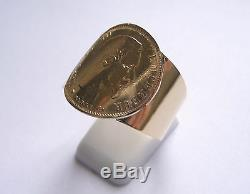 Bague pièce or corps large 10 Francs Napoléon tête non laurée