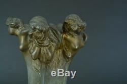 Beau Vase Art nouveau Allégorie Portrait Femme nue nymphe sv Vibert Pat. Bronze