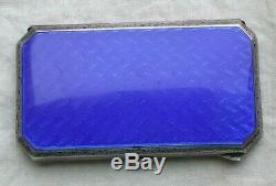 Belle Boîte Epoque Art-nouveau 1900 Argent Massif Emaille Bleu Dur T. B. E. 60,2 G