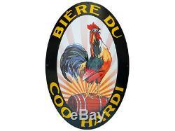 Bière Du Coq Hardi / Plaque Émaillée Bombée / Enamel Enamelled Sign