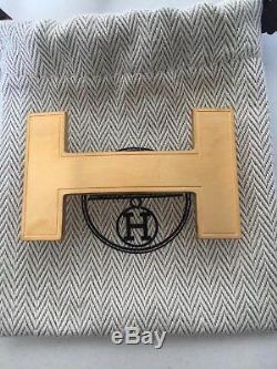 Boucle de ceinture Hermès modèle Quizz en métal brossé doré état neuf