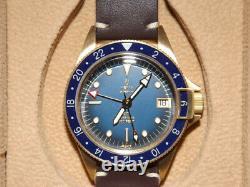 Brand New Yema Watch Superman GMT Bronze Blue 39mm