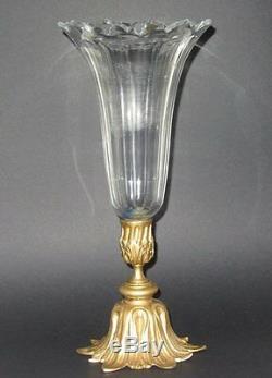 Centre De Table Vase Cornet Tulipe Baccarat Epergne Art Nouveau Ormolu Bronze