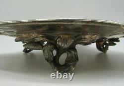 Centre de table art-nouveau Victor Saglier XIXème métal argenté aux iris