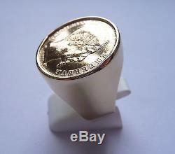 Chevalière Or ronde avec pièce 20 Francs Napoléon non lauré et douille intérieur