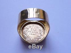 Chevalière Or ronde pièce de 10 Francs or Napoléon tête non laurée