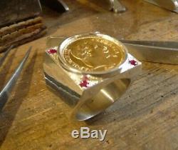 Chevalière argent carré avec pièce or 20 Francs Napoléon tête laurée et 4 rubis