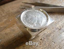 Chevalière argent carrée avec pièce de 1 Franc Napoléon III