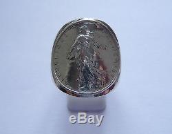 Chevalière argent cintrée avec pièce de 1 Franc Semeuse