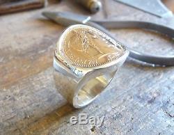 Chevalière argent cintrée pièce or 20 Francs Napoléon tête laurée
