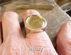 Chevalière argent massive ronde avec 10 Francs or Napoléon non laurée