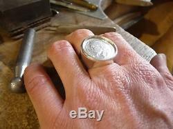 Chevalière argent massive ronde pièce de 1 Franc Napoléon III