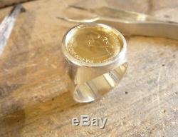 Chevalière argent ronde avec pièce de 10 Francs or Napoléon tête non laurée