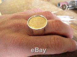 Chevalière argent ronde pièce or 20 Francs Coq