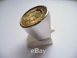 Chevalière argent ronde pièce or 20 Francs Marianne