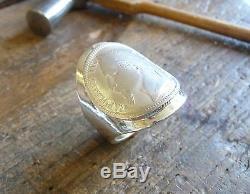 Chevalière cintrée en argent avec 1 Franc Napoléon argent