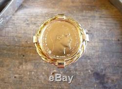 Chevalière or 10 Francs Napoléon avec torsade et douille intérieure