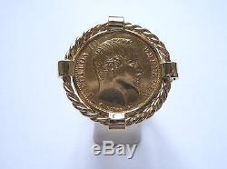 Chevalière or 20 Francs Napoléon avec torsade et douille intérieure