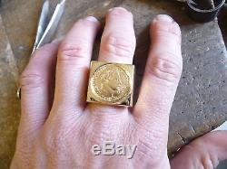 Chevalière or carré avec pièce or 10 Francs Napoléon avec douille intérieure