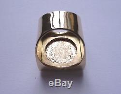 Chevalière or carré avec pièce or 20 Francs Napoléon tête laurée